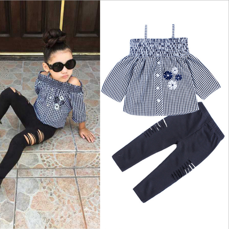Formulaes Of Foreign Trade Platform Supply Europe And The United States Children's Clothing Set Lattice Sling Flowers Shirt + Cotton Sweater Trousers Children's Clothing