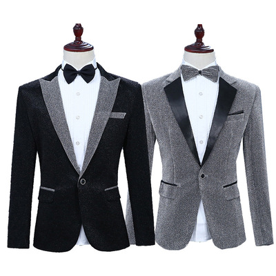 men's jazz dance suit blazers Men bright suit single western singer stage long sleeve top will show off Western bow tie