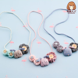 Wife adult mesh yarn yarn flower button fabric shiny five-pointed star cloth fabric puppy children necklace accessories