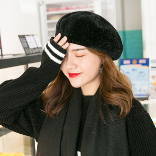 04a73ed283a Winter vintage Korean version of the artist hat lady in solid color chenille  beret breathable and sweat-absorbing warm art hat