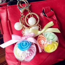 永生花钥匙扣仿真玫瑰花礼品生日礼物可爱包包挂件汽车钥匙链情侣