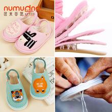 春秋1-3岁婴儿手工千层底宝宝棉布鞋幼儿室内家居拖鞋(TX-9101-b)