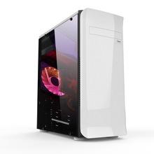 玩嘉雪橇黑白机箱 大侧透机箱办公电脑机箱 台式电脑空机箱USB3.0