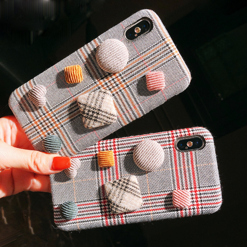 Applicable autumn and winter Apple X horse hair button mobile phone shell iPhone7/8plus ultra-thin warm wind Apple 6s protective cover