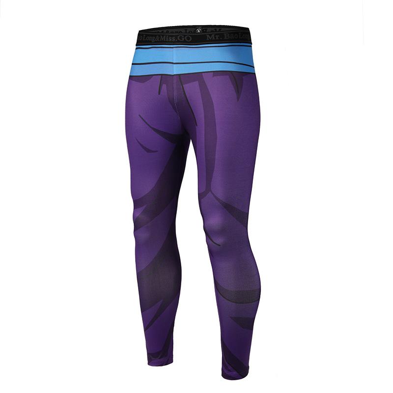 男装速干运动健身休闲裤 速卖通夏季跑步3D卡通动漫印花紧身长裤