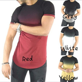 Europe and the United States men's casual color T-shirt long round neck gradient fitness T-shirt male