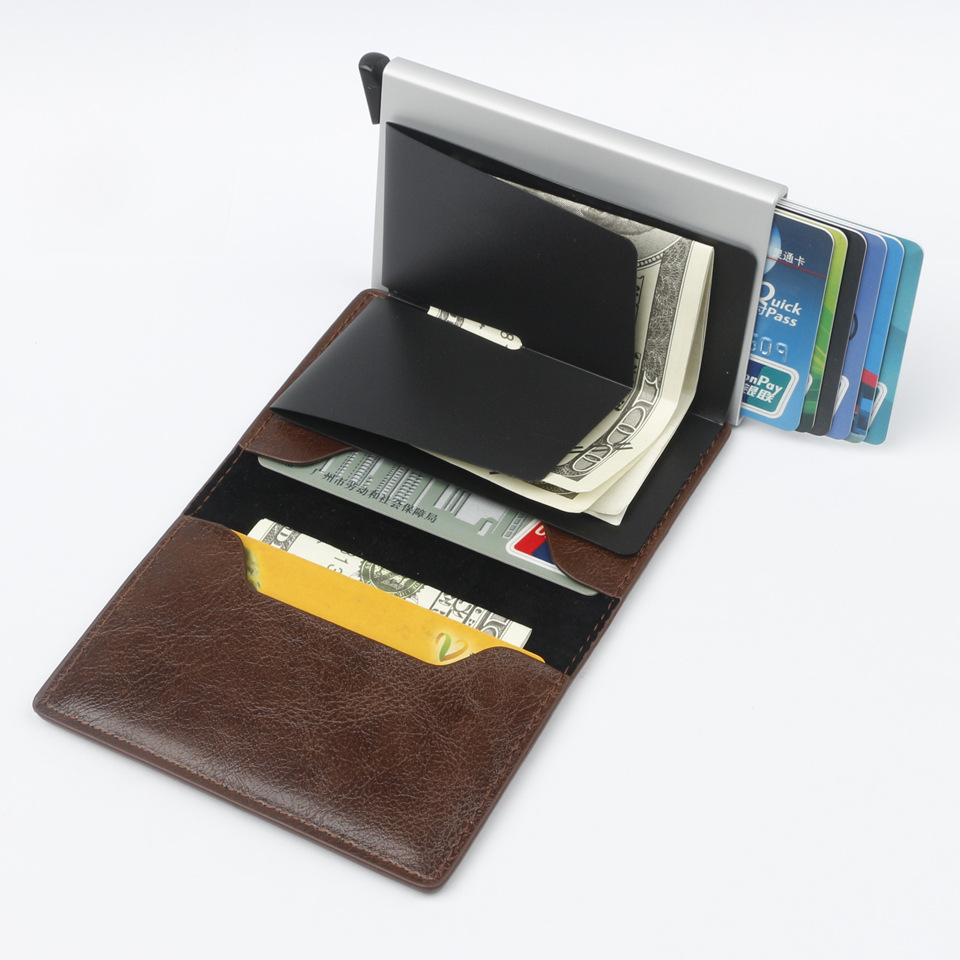 men and women RFID Credit card holder crazy horse PU leather aluminum wallet automatic Pop-up card wallets