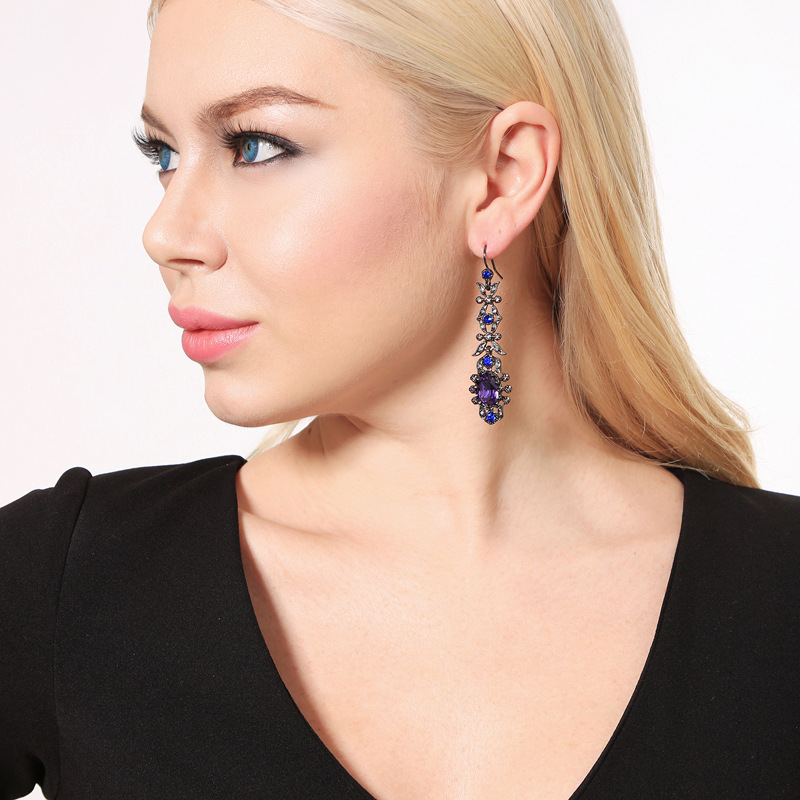 Alloy Fashion Flowers earring(Purple-1) NHQD5158-Purple-1