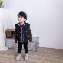 2018童裝新款秋冬女童羊羔毛牛仔馬甲中小童保暖背心兒童立領外套