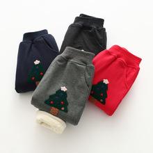 植绒圣诞树刺绣童裤 18冬款超柔休闲裤 外贸童装批发83102