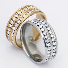 跨境专供饰品 欧美钛钢满钻双排周圈钻戒指 时尚不锈钢戒指