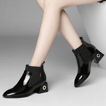 韩版时尚靴子女2018秋冬新款短靴松紧带一脚蹬真皮女鞋切尔西靴批