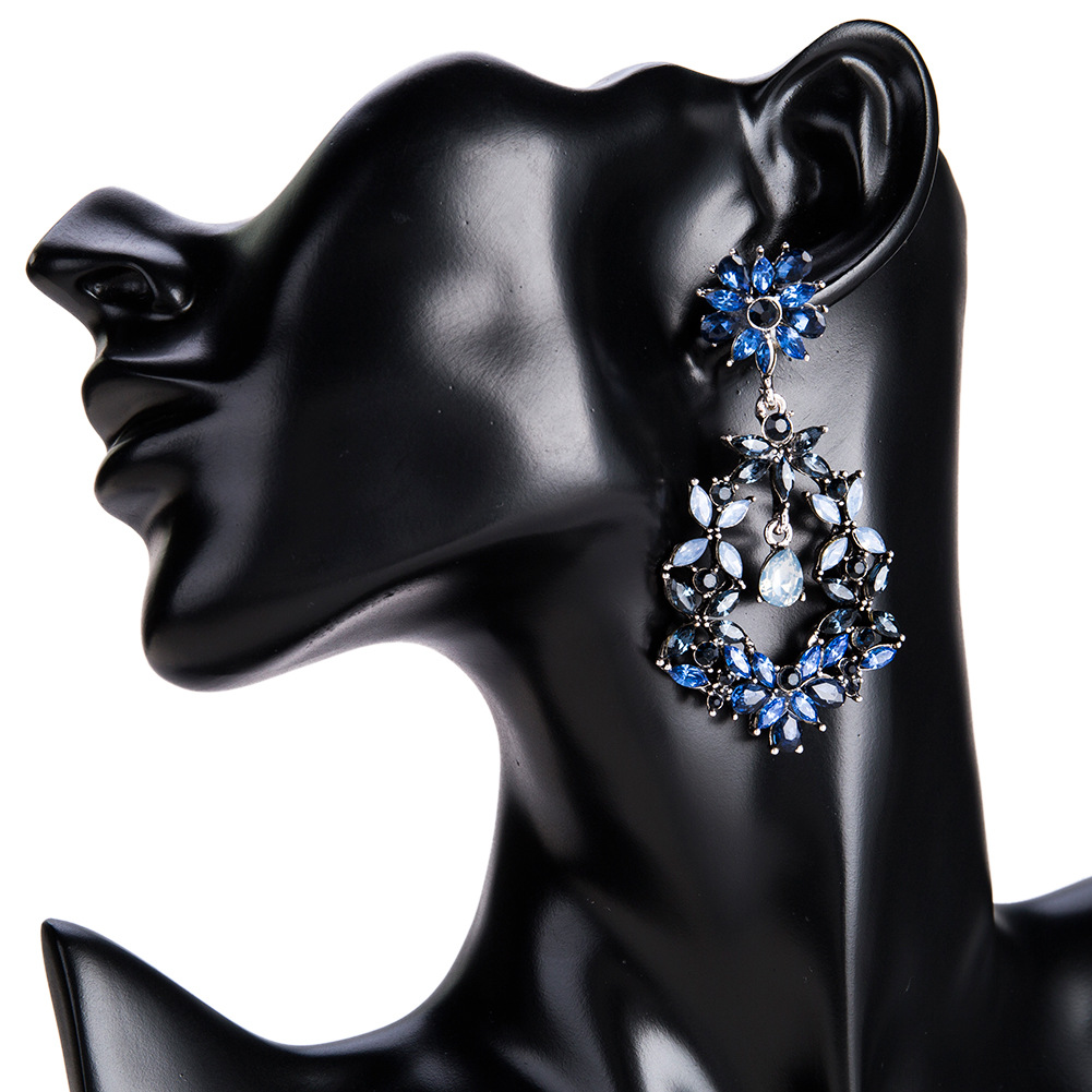 Fashion Alloy Diamond earring Geometric (blue)NHJE1149-blue