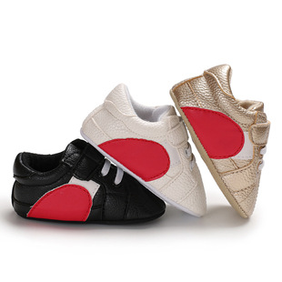 Baby shoes spring and autumn models 0-1 year old male and female baby heart-shaped PU half rubber-soled toddler shoes