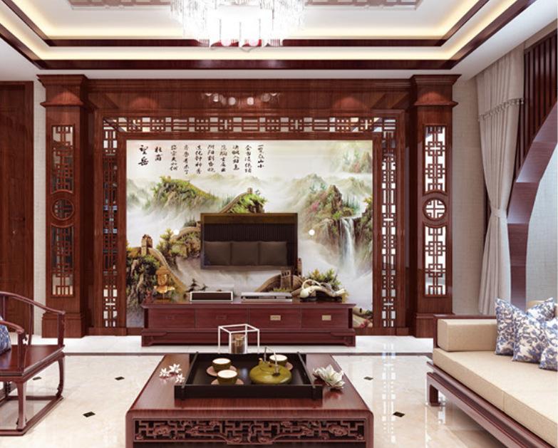 中式背景墙 岗石背景 微晶石大理石背景墙 客厅沙发会所背景墙