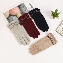 2018新款冬季羊绒触屏手套 甜美蝴蝶结加绒加厚保暖手套厂家批发
