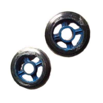 供应8寸蓝芯黑皮花孔铁芯橡胶单轮 花孔铁芯橡胶单轮 橡胶单轮