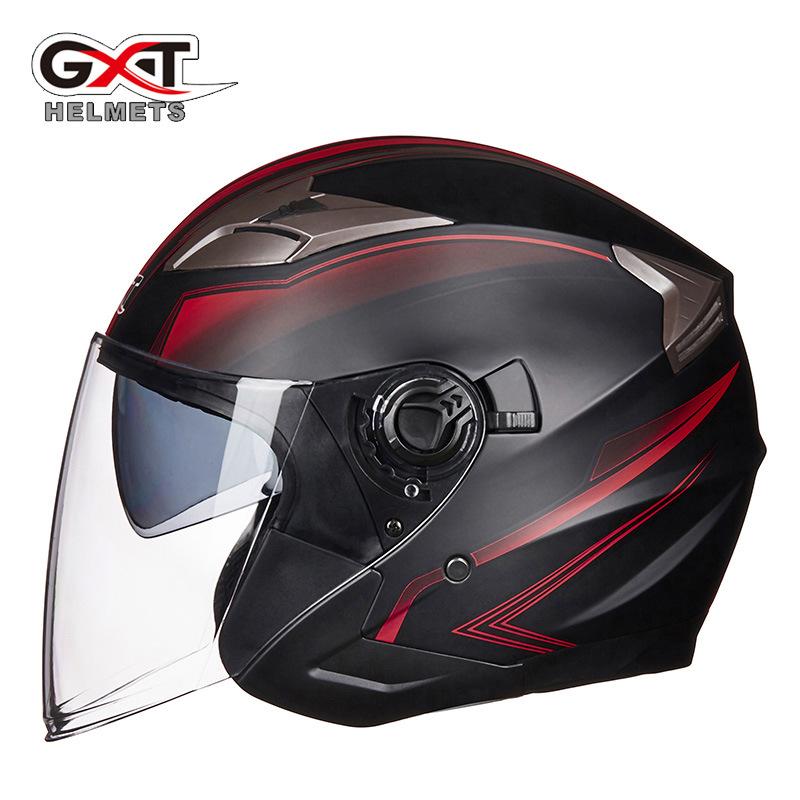 GXT708电动电瓶车头盔双镜片男女个性半盔四季安全帽春秋冬