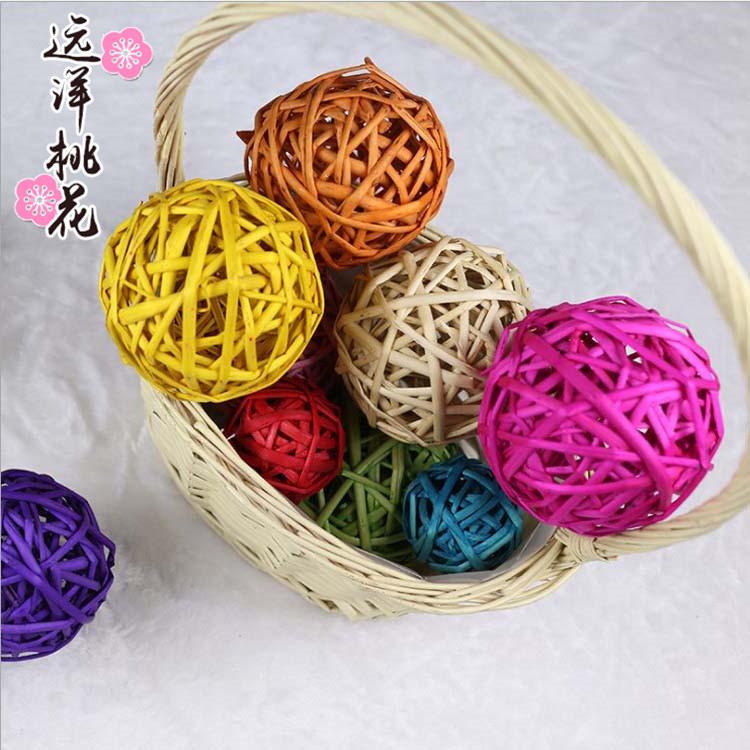廠家批發室內diy裝飾多色干藤球 幼兒園彩色藤球編織球裝飾工藝品