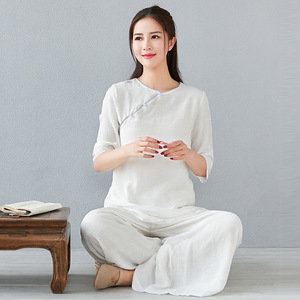 Cotton and linen yoga meditation clothes Tea Service Zen Literary Chinese Three-quarter Sleeve Top Yoga Wide Leg Pants Loose Large Size Suit