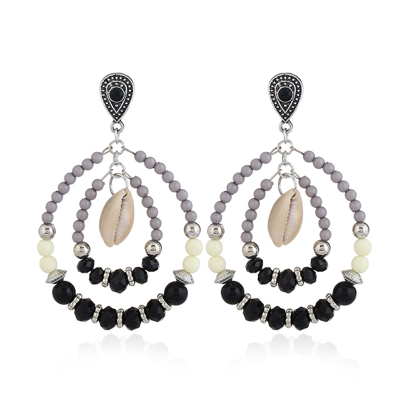 Crystal&CZ Fashion Geometric earring(Ancient gold white) NHKQ1554-Ancient gold white