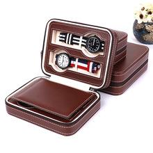廠家定制韓版亞馬遜4位拉鏈手表包高端PU皮革珠寶首飾收納包裝盒