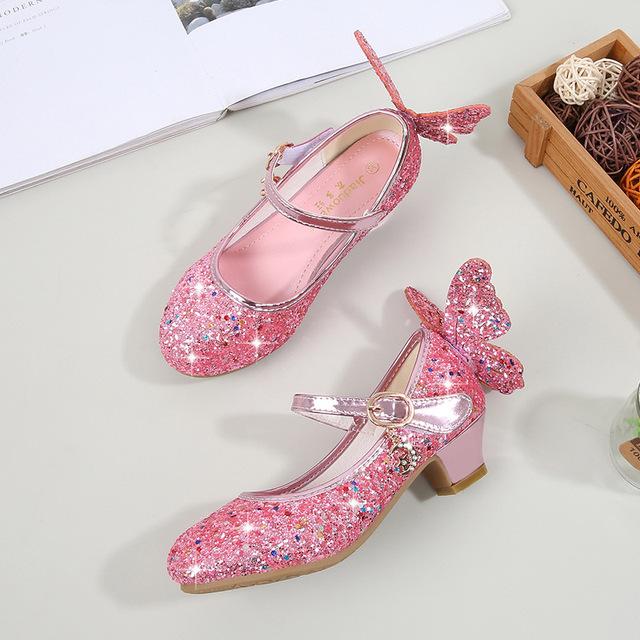 Giày cao gót cho bé gái 2019 mùa xuân và mùa thu Giày trẻ em mới Giày trẻ em hiệu suất Giày nữ pha lê Giày công chúa
