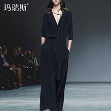 套装女秋2018新款欧美显瘦宽松气质V领七分袖上衣阔腿裤两件套潮