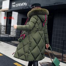 批發歐美韓版棉服女中長款大毛領女士棉衣女裝加厚羽絨棉服棉外套