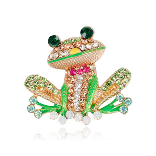 Hot new product cartoon cute frog brooch in Europe and America, exquisite all-match brooch with alloy diamond