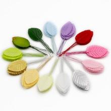 供应批发仿真绿叶花托喜糖盒包装礼盒鞋帽装饰配件树叶花环材料