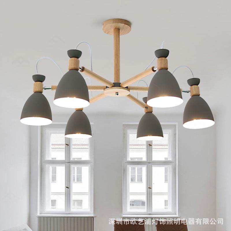 北欧灯具客厅吊灯实木现代简约风格马卡龙创意小户型卧室餐厅灯具