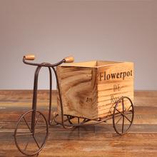 田园铁艺自行车花架室内摆台式三轮车木质花盆架家居桌面摆件装饰