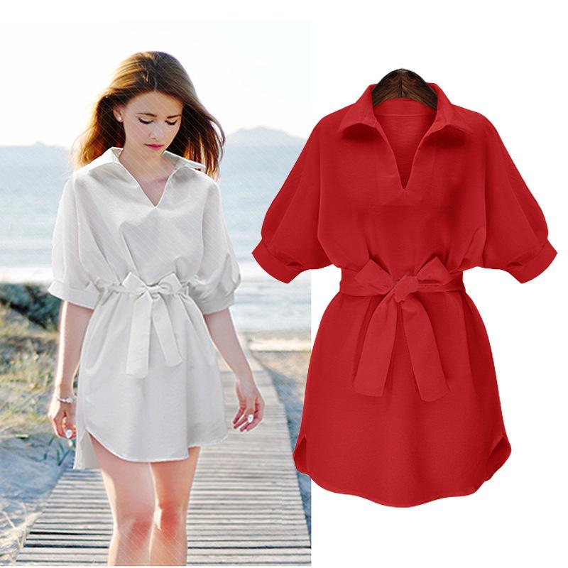 2020秋季新款女装时尚宽松衬衫连衣裙白色中袖休闲V领打底裙