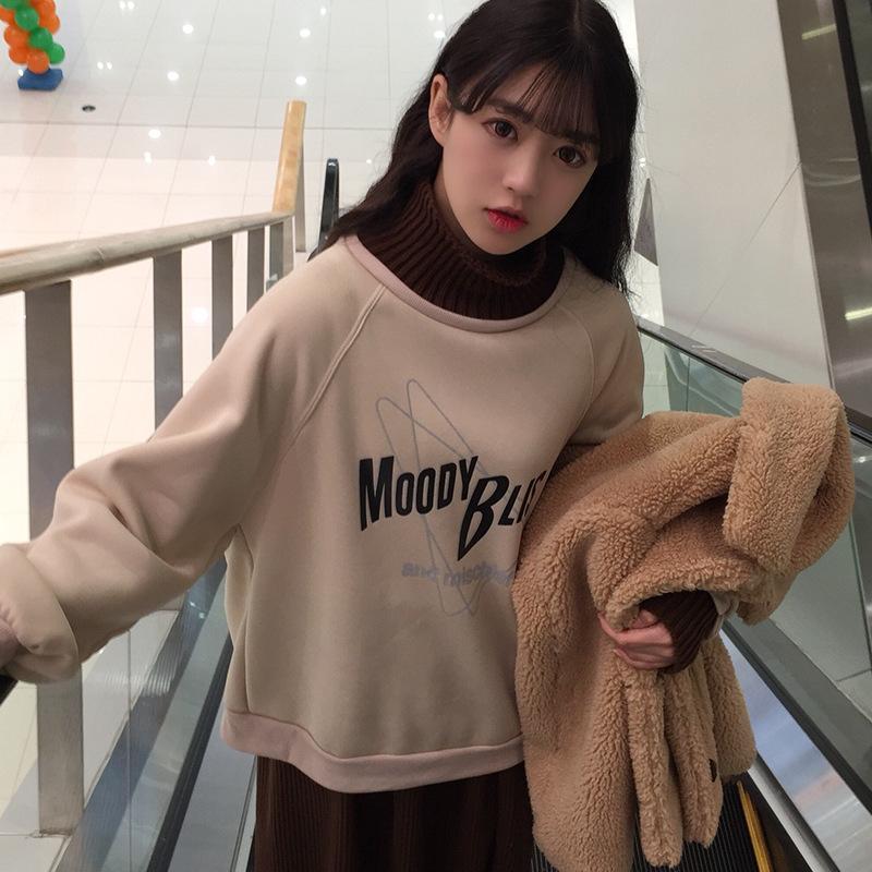 大码女装中长款蝙蝠袖假两件拼接羊毛领加绒加厚卫衣