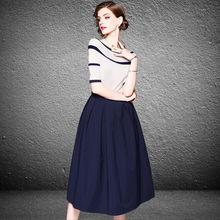 2018夏季新款女装欧美大牌一字领针织衫中长款半身裙套装一件代发