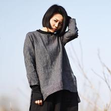 素年未央 1803/千山 原创棉麻 灰色百搭基本款长袖细条纹女式衬衫