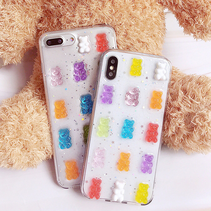 Transparent three-dimensional bear protective shell for 7plus 6s XR Epoxy transparent cute bear 8plus Xs max