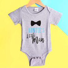 2018新款婴儿连体衣纯棉夏季 宝宝字母领结印花短袖三角哈衣