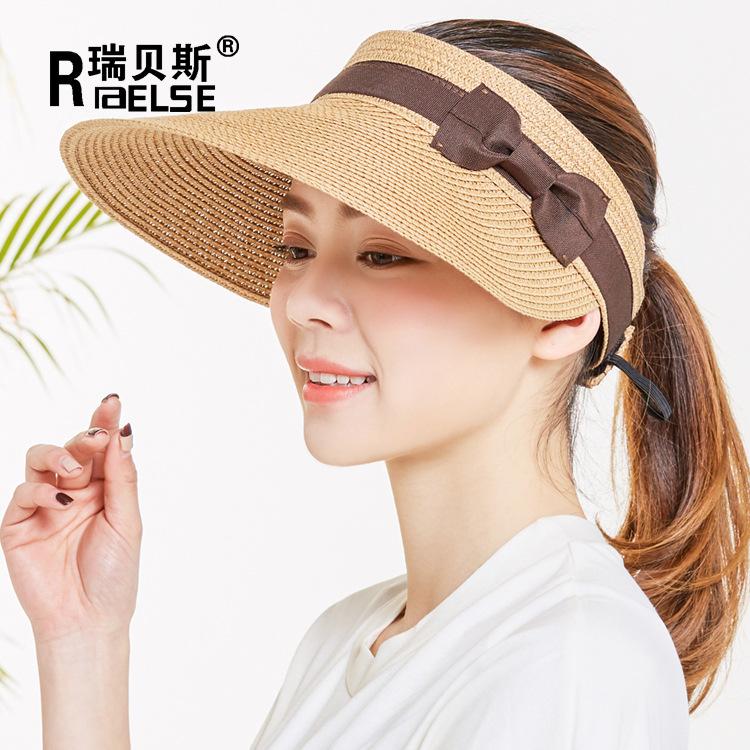 女士夏季空顶时装帽大檐蝴蝶结草帽韩版新款女士防晒遮阳帽太阳帽