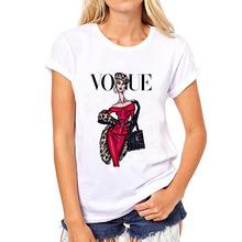 2018新款VOGUE时尚印花女士T恤圆领短袖速卖通服装女装一件代发