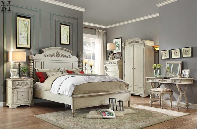 美式实木床欧式雕花白色做旧橡木婚床1.8米新古典法式复古双人床