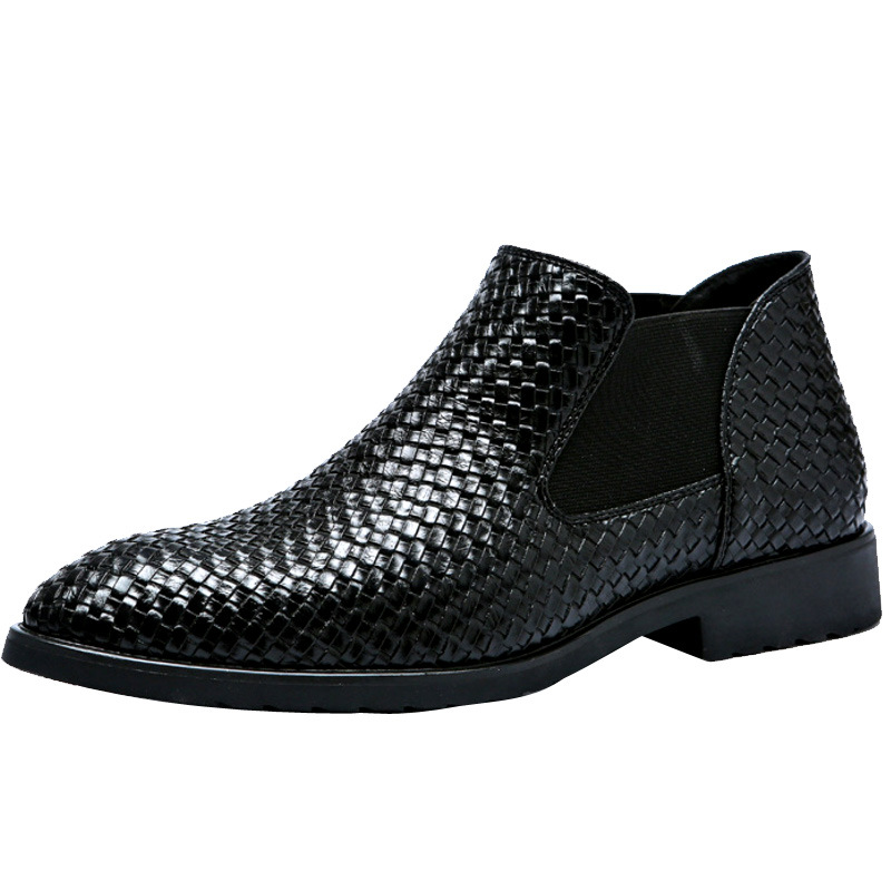 Men'S Leather Boots Knitted By Hand In Spring And Summer