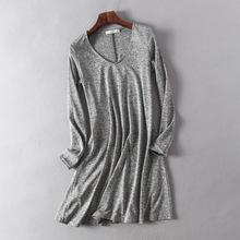 外貿原單 秋季V領套頭簡約氣質寬松灰色T恤女式中長款長袖打底衫
