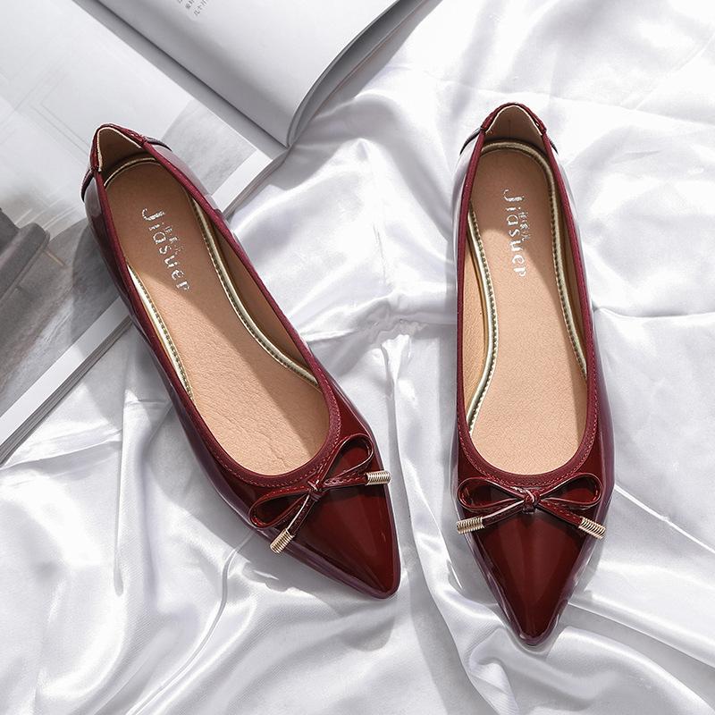 2020韩版新款尖头单鞋女春季浅口侧空平底鞋平跟简约蝴蝶结女潮
