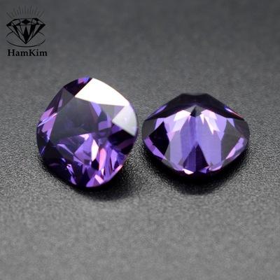紫红色肥正方尖底锆石枕形cz石紫色方垫形zircon宝石裸石首饰镶嵌