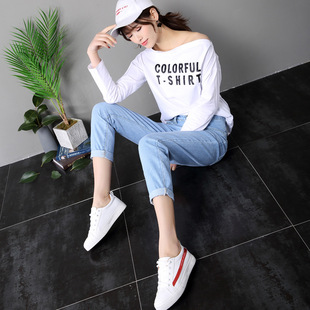 2021 spring and autumn new jeans women's nine-point loose feet pants high waist jeans women's Korean tide