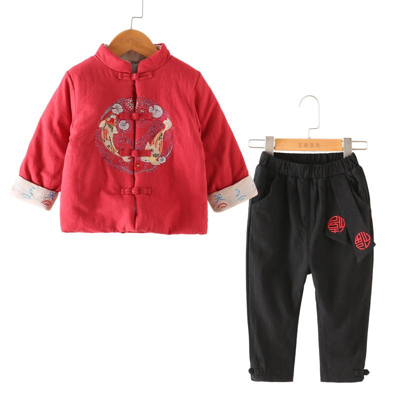 中国风童装儿童汉服套装秋冬宝宝唐装棉衣男女童国学儿童拜年服