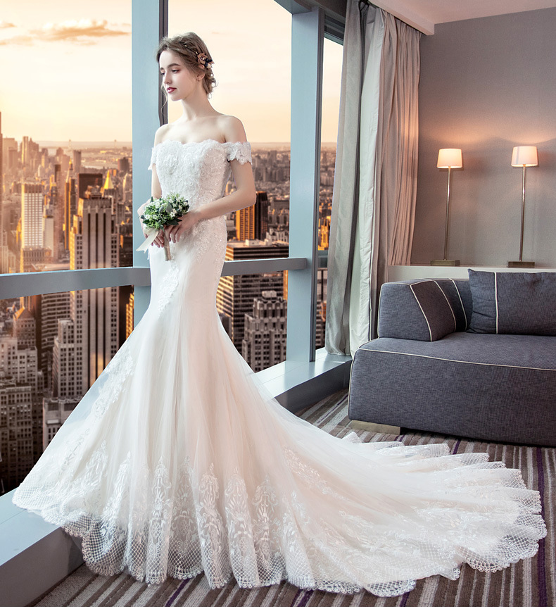 Details About Lace Mermaid Wedding Dresses Simple Off The Shoulder Elegant Wedding Gowns