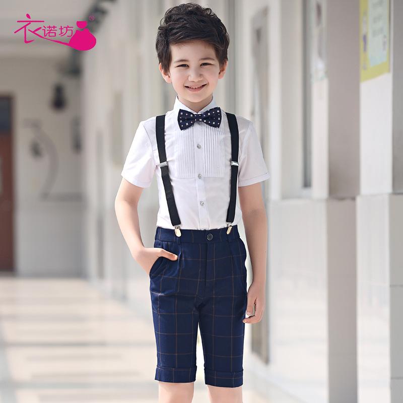 儿童花童礼服主持人男童钢琴演出服装合唱背带裤小男孩表演套装夏